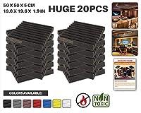 エースパンチ 新しい 20ピースセット黒い 500 x 500 x 50 mm ウェッジ 東京防音 ポリウレタン 吸音材 アコースティックフォーム AP1134