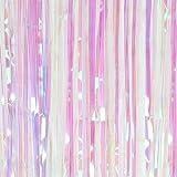 SUNBEAUTY 「1個セット」 キラキラなタッセルカーテン 華やかな金属感 パーティー用カーテン ウェディング 写真背景 デコレーション イベントの装飾 (レインボー)