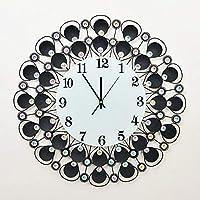 Chuangshengnet シェルサイレント現代鉄アクリル人格壁時計大数字用リビングルームキッチンキッズティーンエイジャー寝室オフィスウォールアートの装飾結婚式の誕生日パーティーギフト (Color : C)