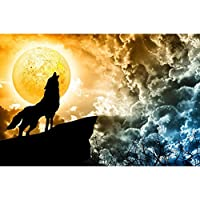ArtzFolio Wolf Howling To The Full Moon 1 Unframed Premium Canvas Painting 49.3 x 32.6inch