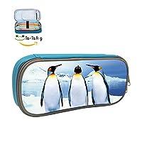 大容量ひな形3つペンギンペンケースペンバッグキッズ ONE SIZE ブルー