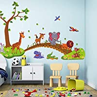 ジャングルブリッジウォールステッカーPVC子供ルームの壁紙のかわいいビッグ動物