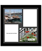 CreativePF [2020bk] Black Picture Frame with 4 Opening Black Mat/White Core Core Collage to Hold 8x10-inch Media,Includes Installed Sawtooth Hangers [並行輸入品]
