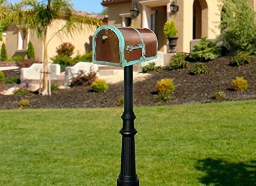 Qualarc MB-3000-PAT-HP800-BL Provincial Collection Mailbox and Flag with Decorative Fluted Base and Black Post, Antique Brass Patina, Ships in 2 Boxes
