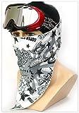 スキー、スノーボード、バイク、スポーツフェイスマスク;保温機能、あったたかいフェイスカバー【スキー・スノーボード・登山・サイクリング・ジョギングなど野外用】息苦しくないあったたかいバンダナ【BT02スカルDJ】