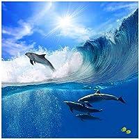 """カスタム写真の壁紙3D大壁画のリビングルームのソファ子供スカイイルカの海の壁紙-400cm(W)x 250cm(H)(13'1""""x 8'2"""")フィート"""