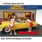 American Diorama Figure: Set of 4 Couples with 2 Carhop Waitress at Drive-in Diner 1:18 Scale [並行輸入品]