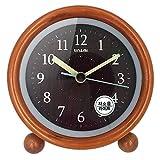 木製の目覚まし時計 アナログ 置き時計 連続秒針 音無し アラーム スヌーズ 照明ライト付き 木製 電池式 小型 かわいい キャラクタ(ブラウン)