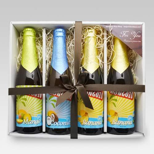 【バレンタインチョコ付】ベルギービール モンゴゾ 3種4本 (バナナ×2・マンゴー・ココナッツ)セット[飲み比べセット] (バレンタインギフト)