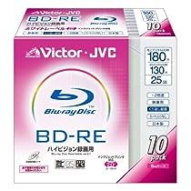Victor 映像用ブルーレイディスク くり返し録画用 130分 25GB 2倍速 ホワイトプリンタブル 10枚 日本製 BV-RE130B10