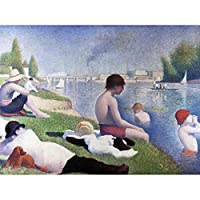 Seurat Bathers at Asnieres Painting Art Print Canvas Premium Wall Decor Poster Mural ペインティング壁デコポスター