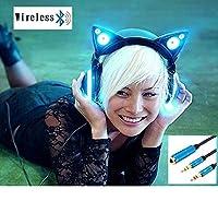【正規品】新世代 LED付き 高機能 ネコ耳ヘッドフォン 第2世代 8色 自由変換 5種 フラッシュ モード 無線 Bluetooth マイク 内臓 PC接続時のマイクと音声分配のケーブル 送付 セット Wireless Cat Ear Headphones (Color Changing) (黒)