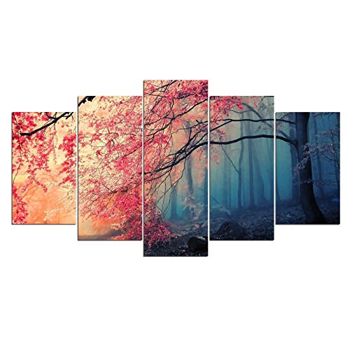 ポスタープリント現代の壁アートキャンバス用リビングルーム5ピース桜写真赤い木森林絵画(フレームなし40x60cm、40x80cm、40x100cm)