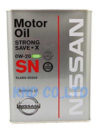 NISSAN 日産純正 エンジンオイル SNストロングセーブX (化学合成油) 0W-20 4L KLAN0-00204