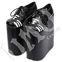 【UMU】 LOLITA ロリータ 超ハイヒール 黒 トラ 風 靴 ブーツ ブーティ オーダーメイド(ヒール高、材質、靴色は変更可能!) (足24cm)