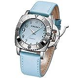 Kingskyレディース高級レザーストラップビッグケースアラビア数字クオーツMovement Wrist Watches S ブルー