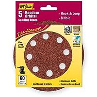 IVY Classic 42370 Flex-Abrasive 5-Inch - 8-Hole 60 Grit Extra Coarse Random Orbital Sanding Disc, 5/Card by IVY Classic