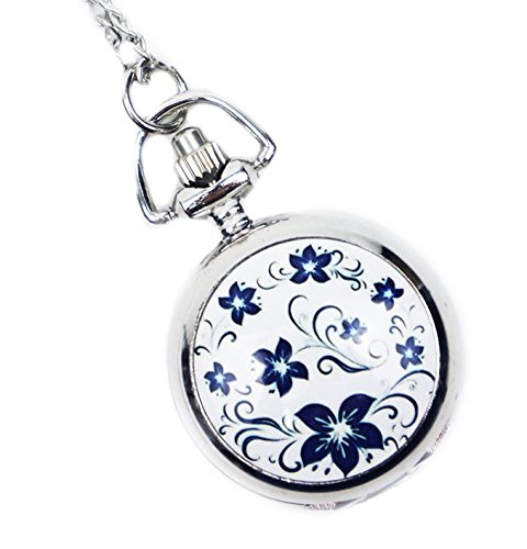 HTS ネックレス 時計 ペンダント 懐中時計 かわいい お出かけ ファッション (ホワイト)