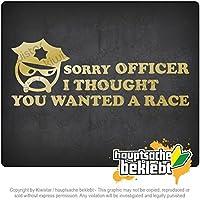 申し訳ありませんオフィサー...レースをしたい Sorry Officer ... Want a race 20cm x 8cm 15色 - ネオン+クロム! ステッカービニールオートバイ