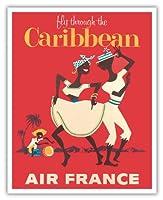 カリブ海を飛びます - エアフランス - カリプソダンサーとコンガドラマー - ビンテージな航空会社のポスター c.1958 - アートポスター - 41cm x 51cm