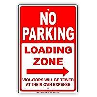 なまけ者雑貨屋 No Parking Loading Zone Right Way Arrow Pointer Violators Will Be Towed at Their Own Expense 金属スズヴィンテージ安全標識警告サインディスプレイボードスズサインポスター看板