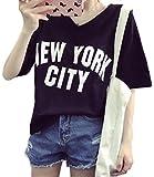 (ルナー・ベリー) Lunar Berry レディース 半袖 プリント Tシャツ カットソー トップス NEW YORK CITY 英字柄 ロゴ入り Vネック ゆったり ヒップホップ 春 夏 カジュアル シンプル ナチュラル 大きいサイズ シャツ 伸縮性 (XL, ブラック)