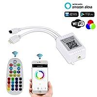 AUtAIワイヤレスWiFiコントローラWorking with Alexa Googleホームfor 50503528RGB LEDライトストリップ、互換性AndroidとiOSシステム、リモートコントローラ付き