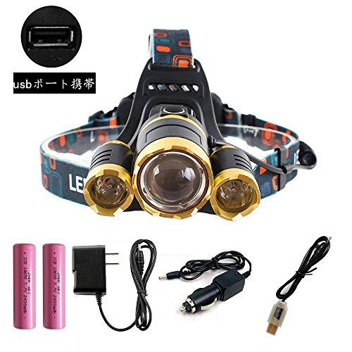 ZHENWEI 8000ルーメン LEDヘッドライト 3*CREE XM-L T6 【実用点灯4.5-8時間】4種の点灯モード 充電式 登山 釣り アウトドア 防水 LEDヘッドランプ 充電用USBケーブル・ACアダプタ・18650電池付属