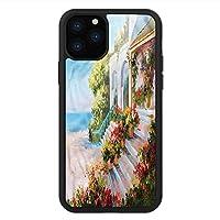 iPhone 11 Pro Max 用 強化ガラスケース クリア 薄型 耐衝撃 黒 カバーケース 景観 海の見える玄関古民家 iPhone 11 Pro 2019用 iPhone11ケース用