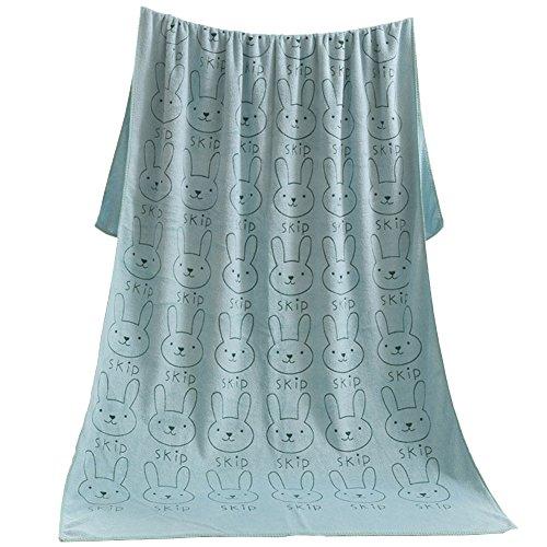 YUUWAバスタオル 速乾吸水タオル ホテルスタイル仕様 マイクロファイバー ふわふわ うさぎ柄 ソフトタオル 肌触り良い 家庭用 大判 70×140cm 1枚 グリーン 母の日 ギフト