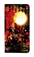 スマホケース 手帳型 android one s3 ケース 0134-C. 満月と紅葉 one s3 カバー 手帳 [Android One S3] アンドロイドワンs3 ケース ベルトなし スマホゴ
