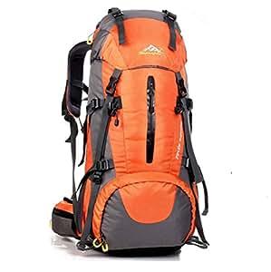 HWJF 登山用リュック ナップザック スポーツバッグ 50L /(45+5)防水 軽量 登山 ハイキング トレッキング キャンプ レインカバー付き -0972 (オレンジ)