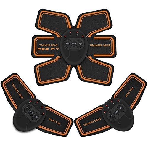 SAMONIC 腹筋ベルト EMS 腹筋 腕筋 筋トレ器具 トレーニングマシーン「ジェルシート*10、乾電池*6、テープメージャー*1、日本語説明書付属」