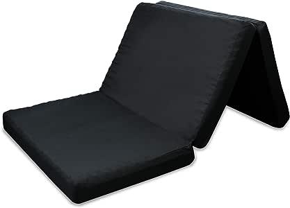 高反発マットレス 三つ折 凹凸加工 竹炭消臭 190N 程よい硬さ ブラック 極厚 10cm (シングル)