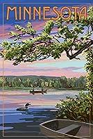 ミネソタ - 夏の湖の夕暮れの景色 24 x 36 Signed Art Print LANT-90614-710