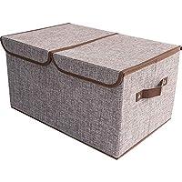車の収納袋、綿とリネンの収納ボックス2層のシンプルな家庭ゴミの衣類収納ボックス,A