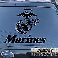 USMC United States Marine Corps海兵隊イーグルGlobeアンカー車トラックデカールステッカービニールDie Cut No背景Pickカラーサイズstyle2 12'' (30.5cm) ブラック 20171102s6