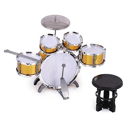 ammoon 10点セット キッズドラム ドラムセット 1バスドラム/4ドラム/1小シンバル/2ドラ...