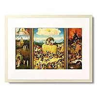ヒエロニムス・ボス Hieronymus Bosch 「干草の車(三連祭壇画) Triptych, The Haywain. (Totale, opened) About 1490」 額装アート作品
