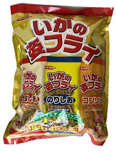 味のドウナン いかの姿フライ バラエティーパック (うすしお味 のりしお味 コンソメ味) 3種類×4袋入+カライ〜カ1袋付き
