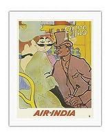 パリ、フランス - 「ムーランルージュのイギリス人」にインド航空のマハラジャが紛れ込む - ロートレックさん、ごめんなさい - エアインディアインターナショナル - ビンテージな航空会社のポスター c.1966 - キャンバスアート - 51cm x 66cm キャンバスアート(ロール)