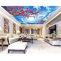 Ansyny 3D部屋の壁紙カスタム壁画不織布壁ステッカー桃の花青い空絵絵3D壁部屋壁画壁紙-260X175CM