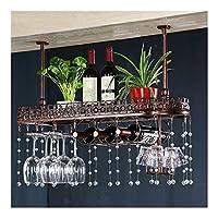 ぜいたくワイングラスラックゴブレットステムウェアホルダー調節可能な高さ棚の天井キャビネットの下ビンテージ乾燥カップディスプレイスタンド100cm (Color : Bronze)