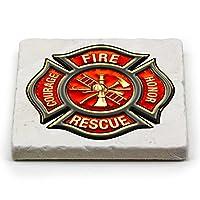 自然石コースター–消防士のためのギフト男性または女性–Emergency Services Beverage &ビールコースター–消防士クラシックFire Maltese (1Piece) Set Of 4 FF2065-MC4CCS