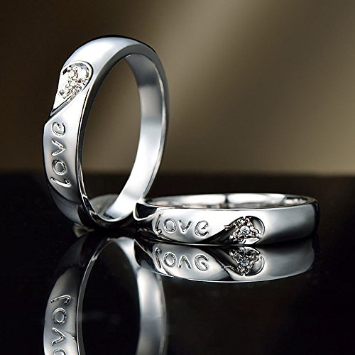 DAZZARRY シルバーマリッジリング 結婚指輪 ダイヤモンド ハートプラチナ ファッションジュエリー