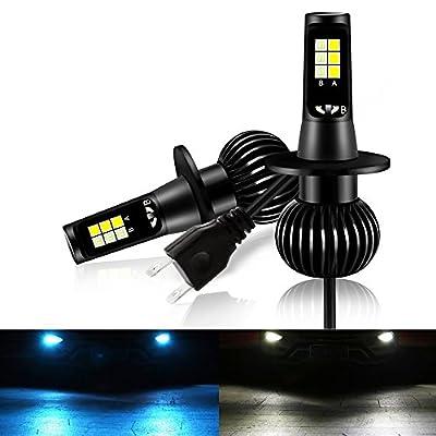 Mesllin Fog Light H1 Dual Colors 40W LED Bright Fog Bulbs Lamp Replacement High Power Daytime Running Light Lamps White Ice Blue Light 6000K/8000K (H1)