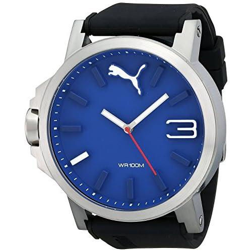 [プーマ] PUMA 腕時計 Men's Ultrasize 50 Silver Blue Analog Display Japanese Quartz Black Watch 日本製クォーツ PU103461014 メンズ [バンド調節工具&高級セーム革セット]【並行輸入品】