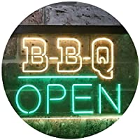 BBQ Open Display Dual Color LED看板 ネオンプレート サイン 標識 Green & Yellow 400 x 300 mm st6s43-i3290-gy