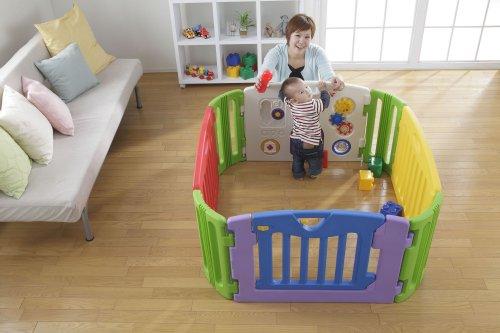 日本育児 ベビーサークル ミュージカルキッズランド スクエア 6ヶ月~3歳半頃対象 拡張しやすい四角型ベビーサークル