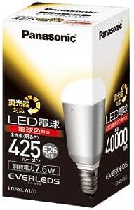 パナソニック EVERLEDS LED電球(調光器対応・E26口金・一般電球形・電球30W相当・425ルーメン・電球色相当)LDA8LA1D